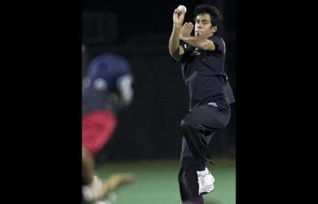 Harvard bowler Manik Kuchroo played in a recent cricket game.